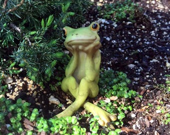 Frog in Thought - miniature enchanted fairy garden