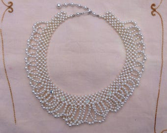 Vintage Faux Pearl Choker Style Necklace 1950s