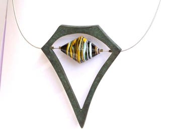 Geometrical contemporary pendant necklace, bronze and Murano artisanal glass bead, one of a kind