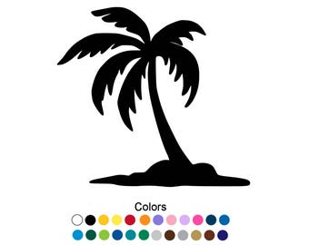 Palm Tree Decal, Beach Decal, Palm Tree Decor, Palm Tree Wall Decal, Palm Tree Art, Yetti Decal, Beach Life Decal, Palm Tree Sticker D1160