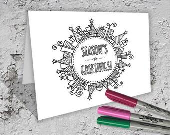 Christmas Bauble Folded Card to Colour - Digital Download - Original Doodle Design