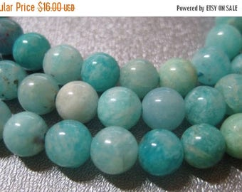 ON SALE 15% OFF African Sky Blue Amazonite Round 6-7mm Beads 63pcs