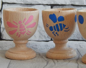 Wooden hand painted egg cup