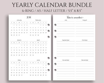 """Yearly Calendar Bundle, 2018 and 2019 Year-at-a-Glance, Important Dates, Holidays ~ Half Page / A5 / 5.5"""" x 8.5"""" for Filofax Rings (A5-YCB)"""