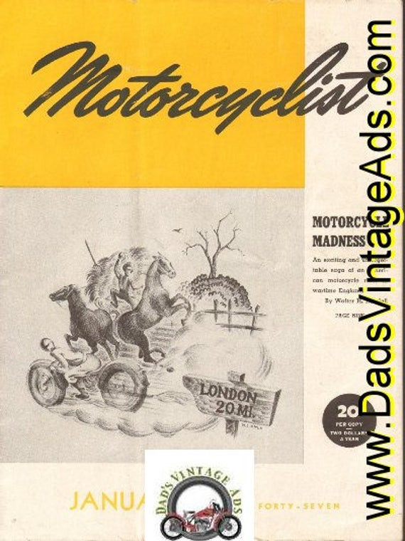 1947 January Motorcyclist Motorcycle Magazine Back Issue #4701mc