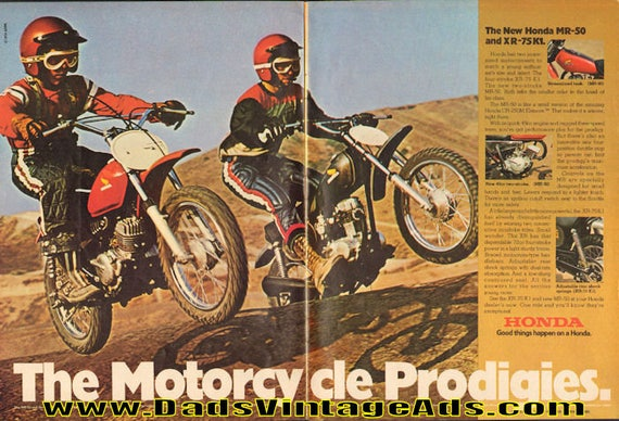 1974 Honda MR-50 and XR-75 K1 ''The Motorcycle Prodigies'' 2-Page Ad #e74da06