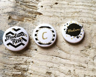 Trio of badges 25mm initial Collection