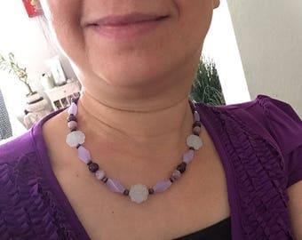 Set of Gemstone Necklace, Bracelet and Ring