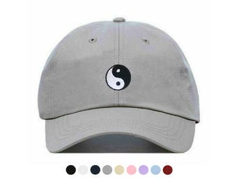 Yin Yang Embroidered Dad Cap, Unstructured Low-Profile Baseball Hat, Adjustable Strap Back, One Size (Multiple Colors)