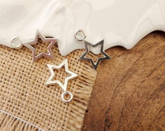 Set of 2 22x17mm silver-plated star charms