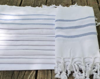 "Turkish Towel,White And Blue,Turkish Hand Towel,Kitchen Towel,Tea Towel,Hand Towel,Head Towel,Face Towel,Dish Towel,Turkish Towel 18""x40"""