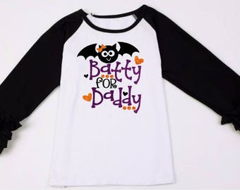 Kids Halloween Shirt-Batty For Daddy Shirt-Cute Girls Halloween Shirt-Batty Halloween Shirt-Monogram Halloween Shirt-Personalized Halloween