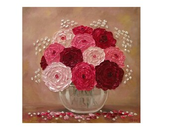"Pink Cream Burgundy Ranunculus in a glass bowl Original oil impasto painting on STRETCHED CANVAS 20"" X 20""  No.04-54 ready to hang"