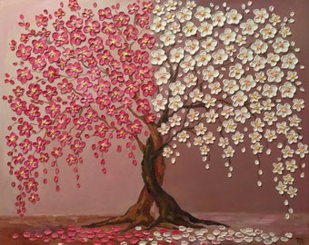 "Cherry Blossom Trees Day And Night   Original oil impasto painting  on Stretched Canvas  size 24"" X 30""  No.02-05 ready to hang"
