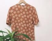 vintage rusty organge  silk t-shirt blouse