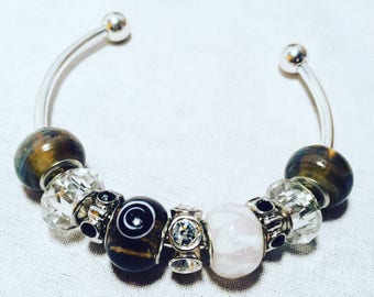 Dark Brown and White Themed Beaded Charm Bangle