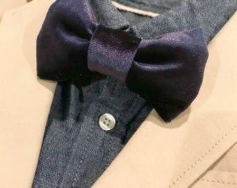 Boys bow tie, Navy velvet, Bow tie