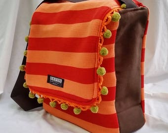 Reversible Fun and Funky Messenger Bag with Pom-Poms