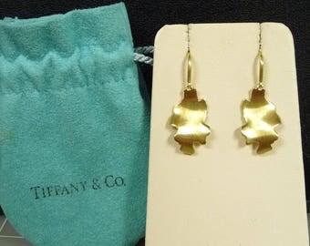 Tiffany & Co Frank Gehry 18K Yellow Gold Leaves Drop Dangle Earrings