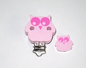 Clip makes wooden OWL pacifier and a Pearl Pink