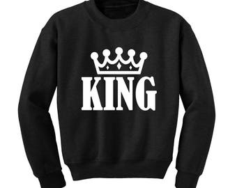 KING Slogan Sweatshirt Funny Cute Valentines Gift Matching Couples Royal Clothing |
