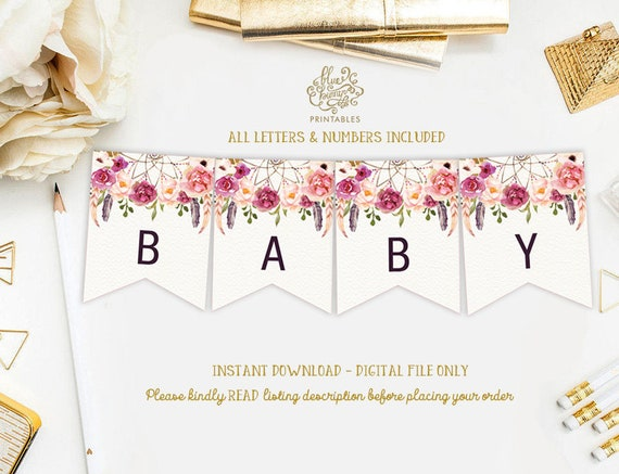 Rustic Floral Baby Shower Printable Banner Wild One Birthday Party