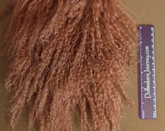 "Tibetan Lamb - Dyed Dark Auburn - 6"" by 4.5"" Piece - Beautiful For Doll Hair/Wig on BJD, Art Dolls and All Dolls."