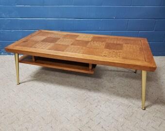 Vintage Mid Century Modern Lane Parquet Coffee Table Gold Legs 1955