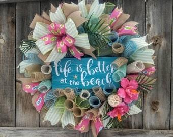 Beach wreath, coastal wreath, tropical wreath, summer wreath, hibiscus wreath