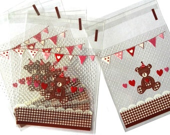 Set of 25 bags bear, Garland and hearts