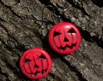 Jack-O-Lantern Earrings - Silver