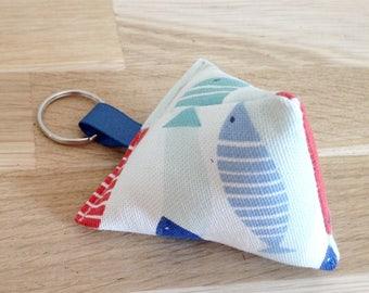 Fabric, colorful fish keychain