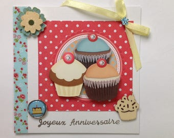 3D card, birthday, made all occasion, cupcake, cakes