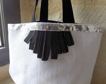Chic white linen and trendy, and silver sequins trim tote bag