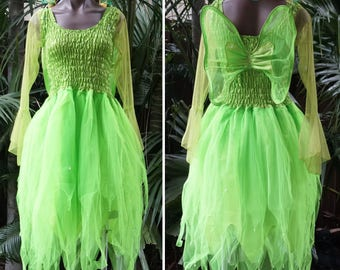 Fairy Dress ADULT Size Mardi Gras Party Halloween Costume with Sleeves and Wings - Neon Green Tinkerbell