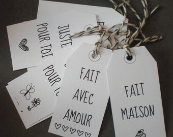 8 labels expressions for all occasions, black and white