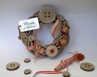 Sewing, spirit of nature and zinc theme wreath. 20 cm