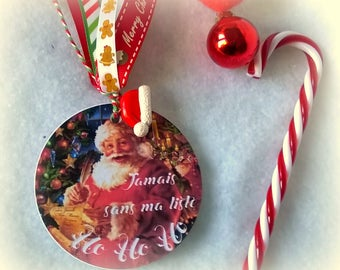 "Pocket notebook with round ""never without my list Ho Ho Ho"" Santa Claus vintage charm + gift bag"