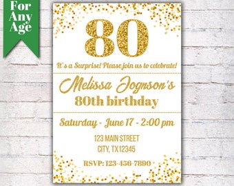 80th Birthday Invitation, Birthday Party Invite, Printable Adult Invitation, Glitter Gold and Black, Any Age, Men or Women Party  - I001