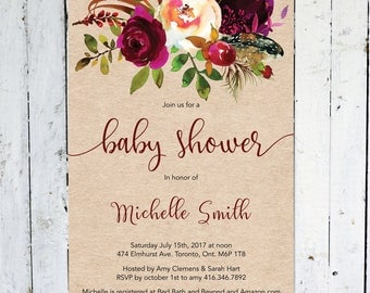 Baby Shower Invitation, Fall Bridal Shower Invitation, Rustic, Maroon, Floral, Kraft Paper, Printable, Printed, Marsala, Burgundy, Feather