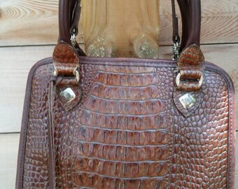 Vintage BRIGHTON Crocodile Embossed Leather Handbag with Handles and Shoulder Strap