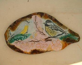 glazed ceramic plate 10 * 18cm - song of nature