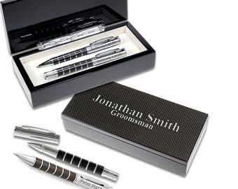 Personalized Black Racer Design Twin Pen Gift Set - Black and Chrome Carbon Engraved Pen Set - Customizable Deluxe Office Pen Gift Set