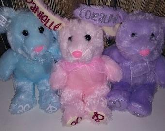 Personalized Easter Bunnies Plush Pink purple blue white small bunny egg hunt basket bucket pail stuffed animal plushie