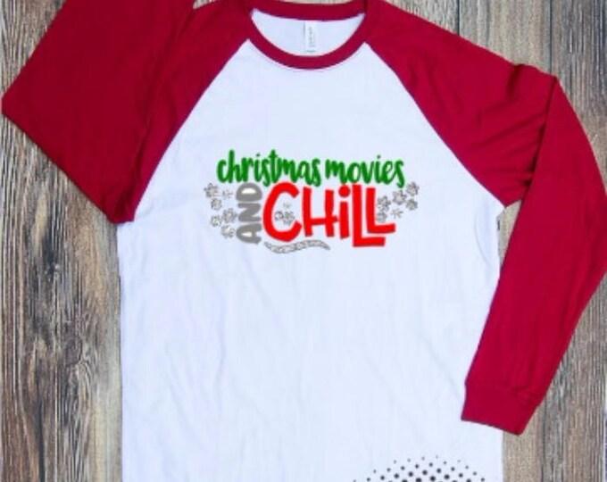 Chirstmas T-shirt Adult Raglan Baseball Tee  Vinyl Unisex Cotton red Christmas Xmas Holidays gift Celebrate Season