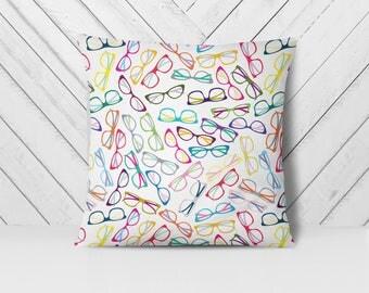 Glasses Pillow, Hipster Pillow, Geek Pillow, Nerd Pillow, Trendy Pillows, Throw Pillow Cover, Home Decor Pillow, Accent Pillow Cover