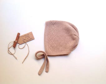 READY TO SHIP - Baby Pixie Bonnet hat 100% cashmere  color Sand storm hand knitted,  size 2-3 years