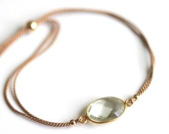 Green Amethyst Bracelet, Silk Cord Jewelry, Minimalist Boho Chic, Prasiolite