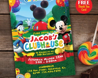 Mickey Mouse Clubhouse invitation and Thank You Card, Clubhouse Party, Mickey Mouse Birthday, Toodles Invite, Mickey Mouse Clubhouse DIY