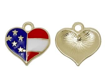 5 Gold Plated Enameled Heart Charm/Pendants 17 x 17mm (B261h)